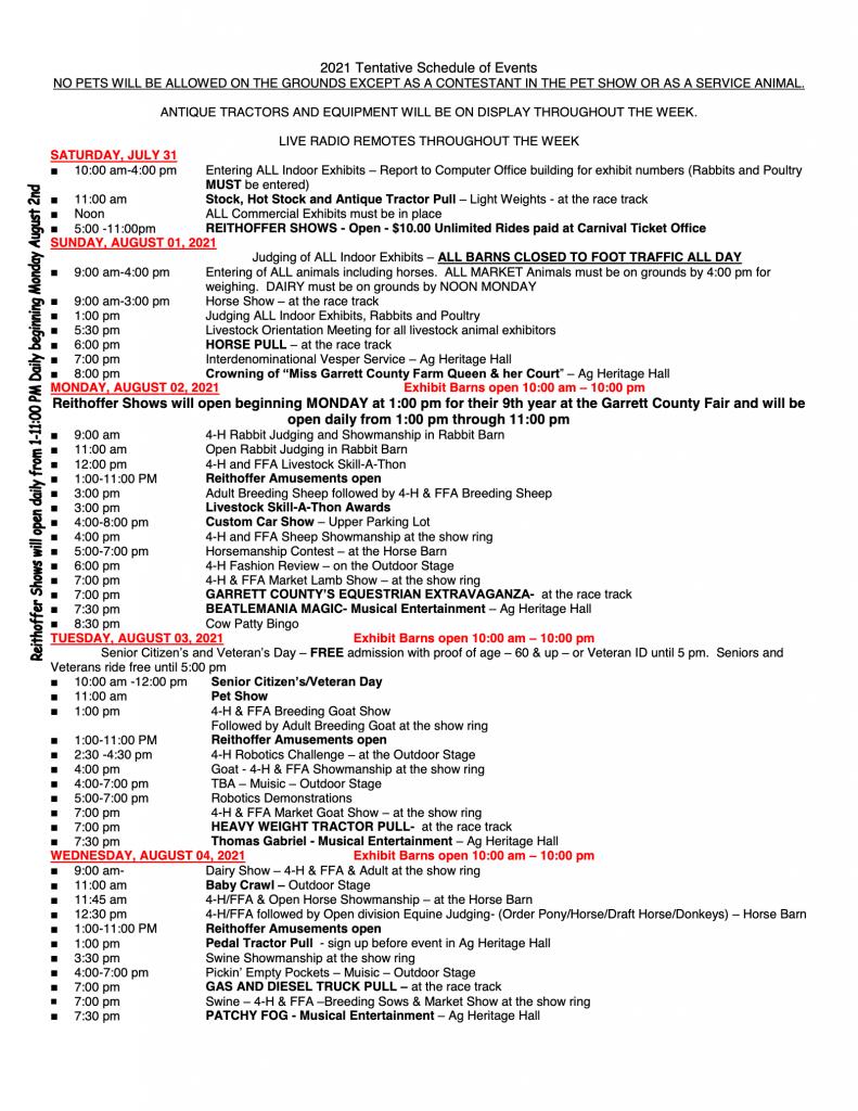 garrett county fair schedule